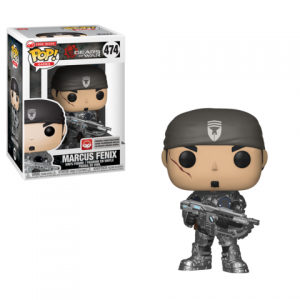 Marcus Fenix Funko Pop! figure is in the box on the left and unboxed on the right. He is wearing his classic CoG gear and his holding onto a Retro Lancer with both hands.