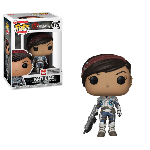 Kait Diaz Funko Pop! figure is in the box on the left and unboxed on the right. She is wearing her winter gear from the 2018 Gears 5 trailer and has a Lancer at her side.