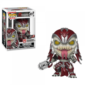 Skorge Funko Pop! figure is in the box on the left and unboxed on the right. He is in his full armor, standing in a battle ready stance with weapon locked back and his tongue sticking out.