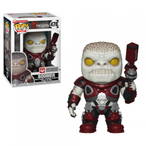 Boomer Funko Pop! figure is in the box on the left and unboxed on the right. The Locust Boomer features the standard Boomer armor, with weapon in one hand and pointed upwards.