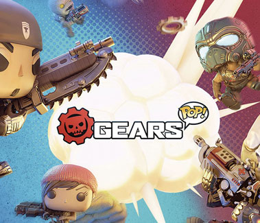 "Gears POP! loading screen featuring an array of Funko Pop! Gears figures with a puff of smoke in the middle that says ""Gears POP!"" in the middle."