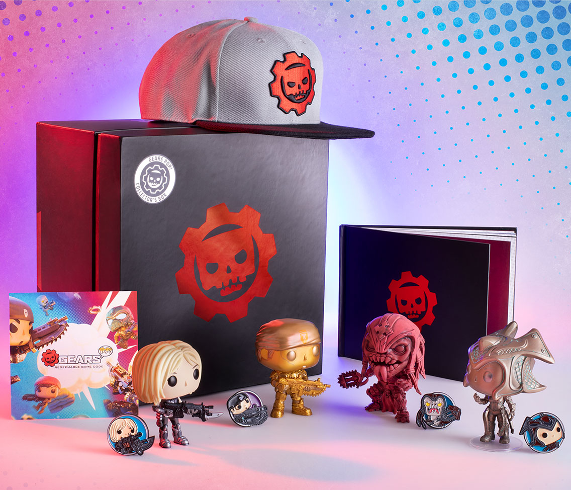 Collector's Box unboxed: shows the closed box in the background on it's side so that the Gears Pop! logo is showing, the hat sits on top, art book is standing off to the right, and the code card, pins, and Pop! figures are all arranged out front.