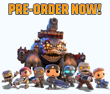 Funko Pop! versions of a Wretch, Kait, Locust Drone, Marcus Fenix, Clayton Carmine, a Boomer, and JD stand from left to right facing forward armed and ready with a Brumak standing behind them.