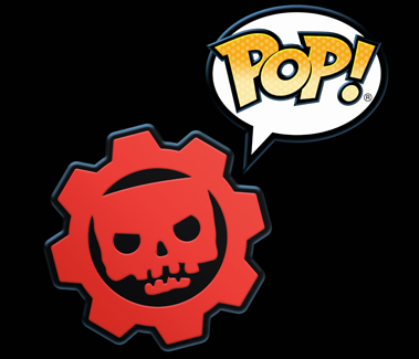 "Funko Pop! version of the Gears of War cog, red and black with a skull in the middle, with ""POP!"" in a speech bubble to the right"