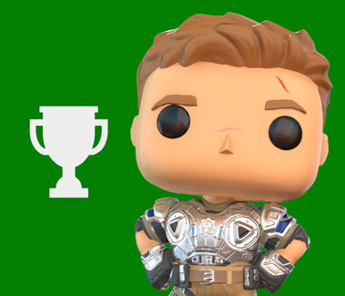 Xbox Achievement Trophy next to Funko Pop! JD