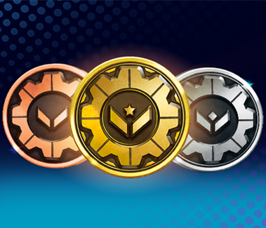 Gears POP! Bronze, Gold, and Silver medals aligned in the middle against a blue backdrop