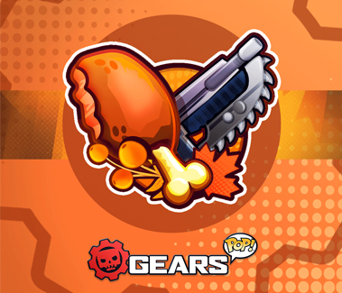A turkey leg and a Lancer cross each other in Gears POP! style.