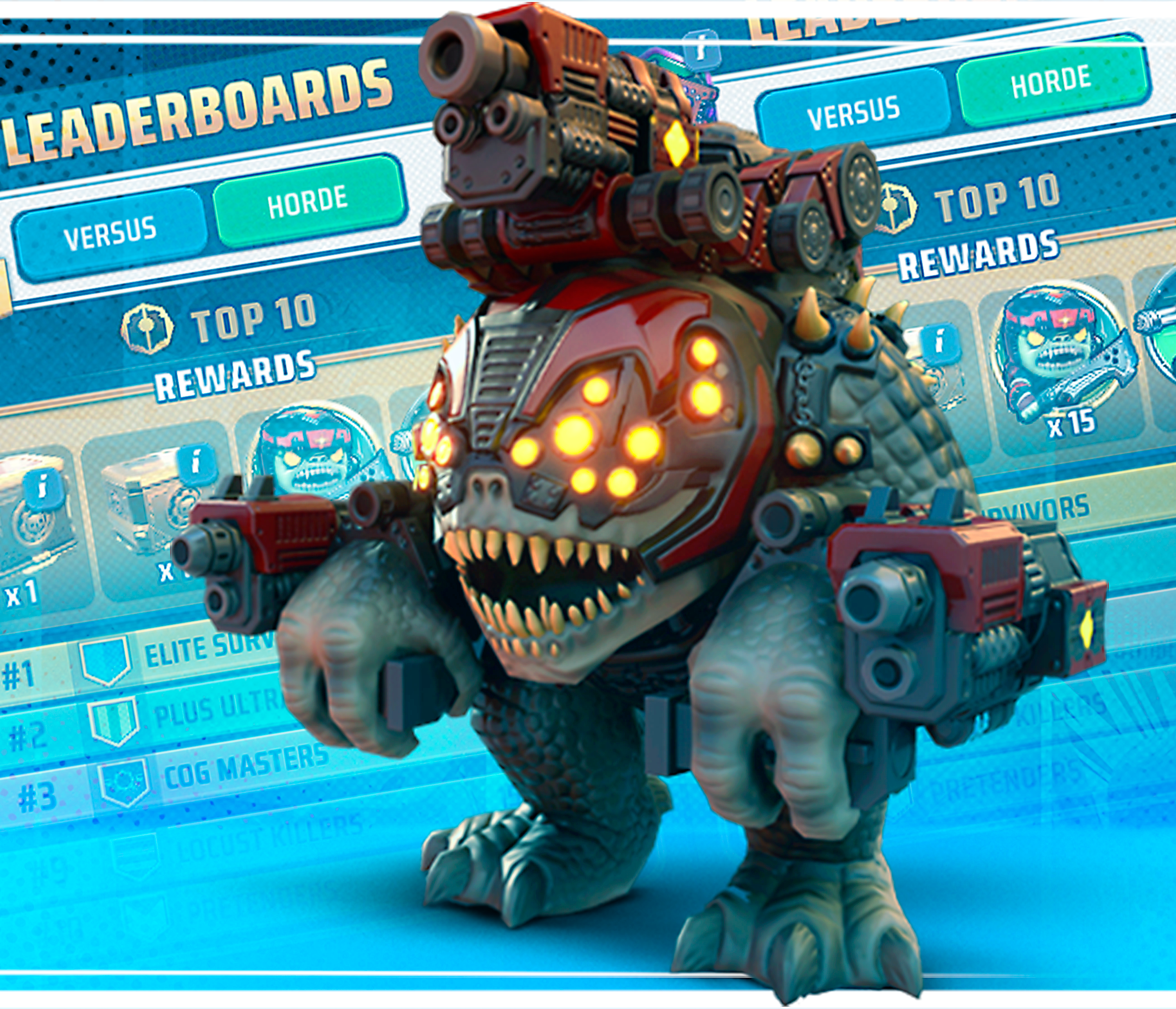 Gears POP! Brumak with Leaderboards in the background