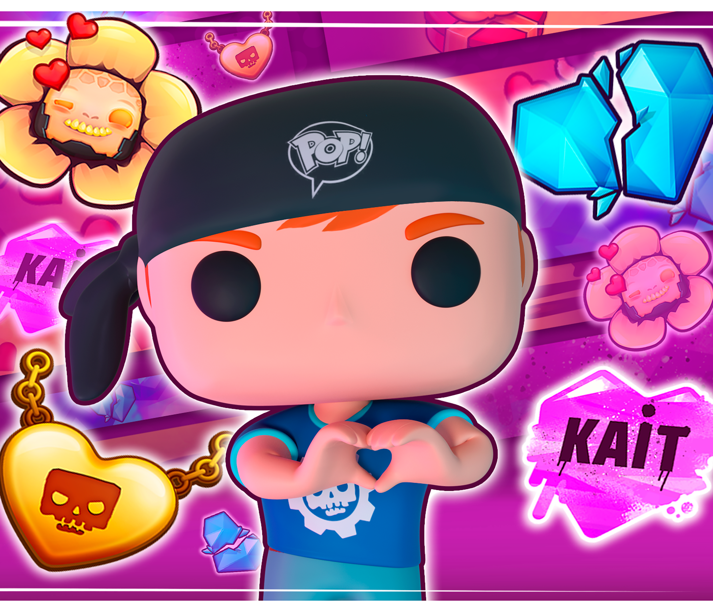 Gears POP! Valentine's Day promo image featuring logos and a Leader making a heart with their hands.