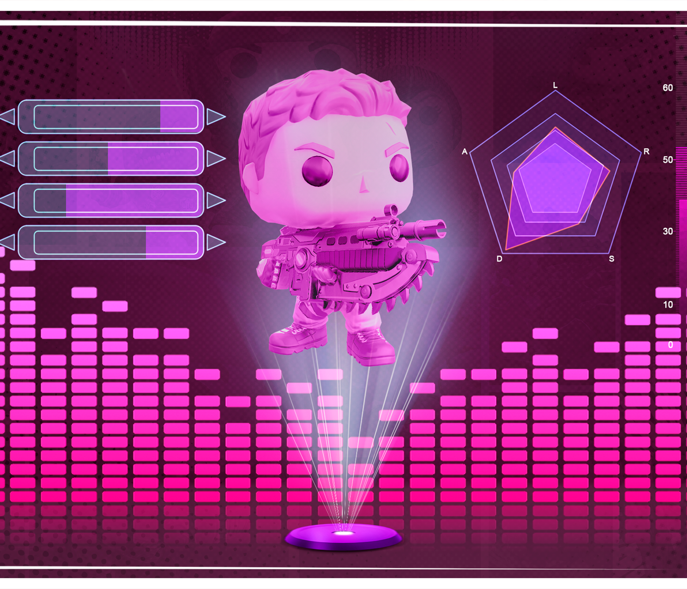 Image of a computerized screen with charts and JD Fenix from Gears POP!