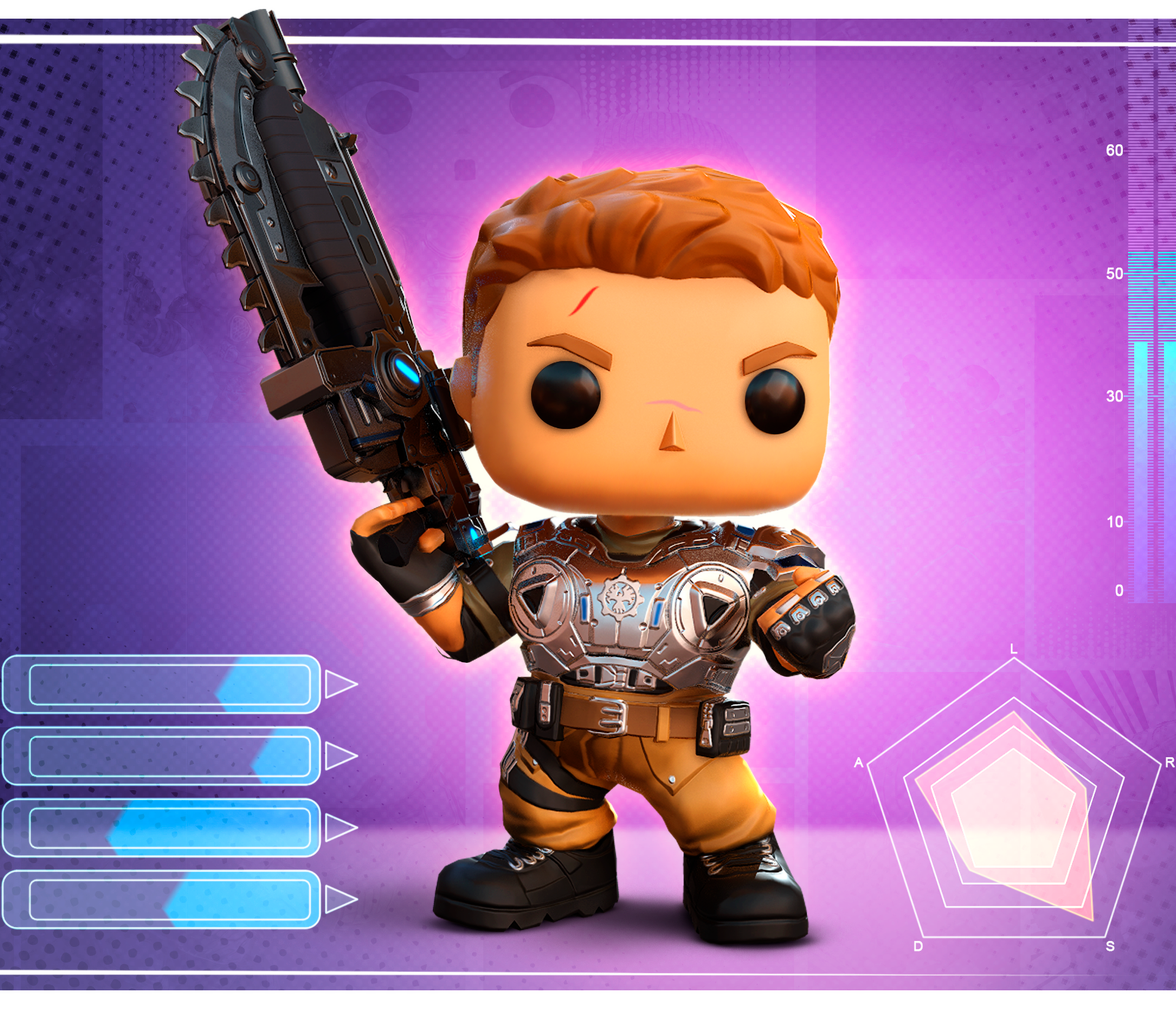 JD from Gears POP! standing against a computerize background with graphs