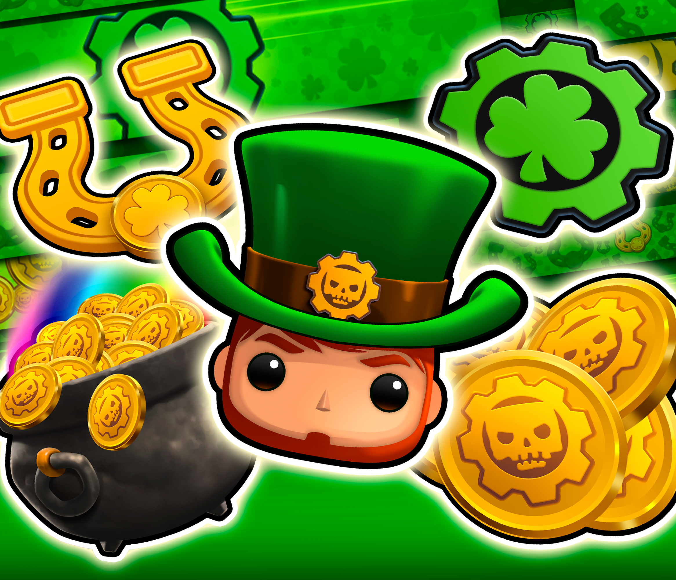 An array of Gears POP! St Patrick's Day logos and emblems
