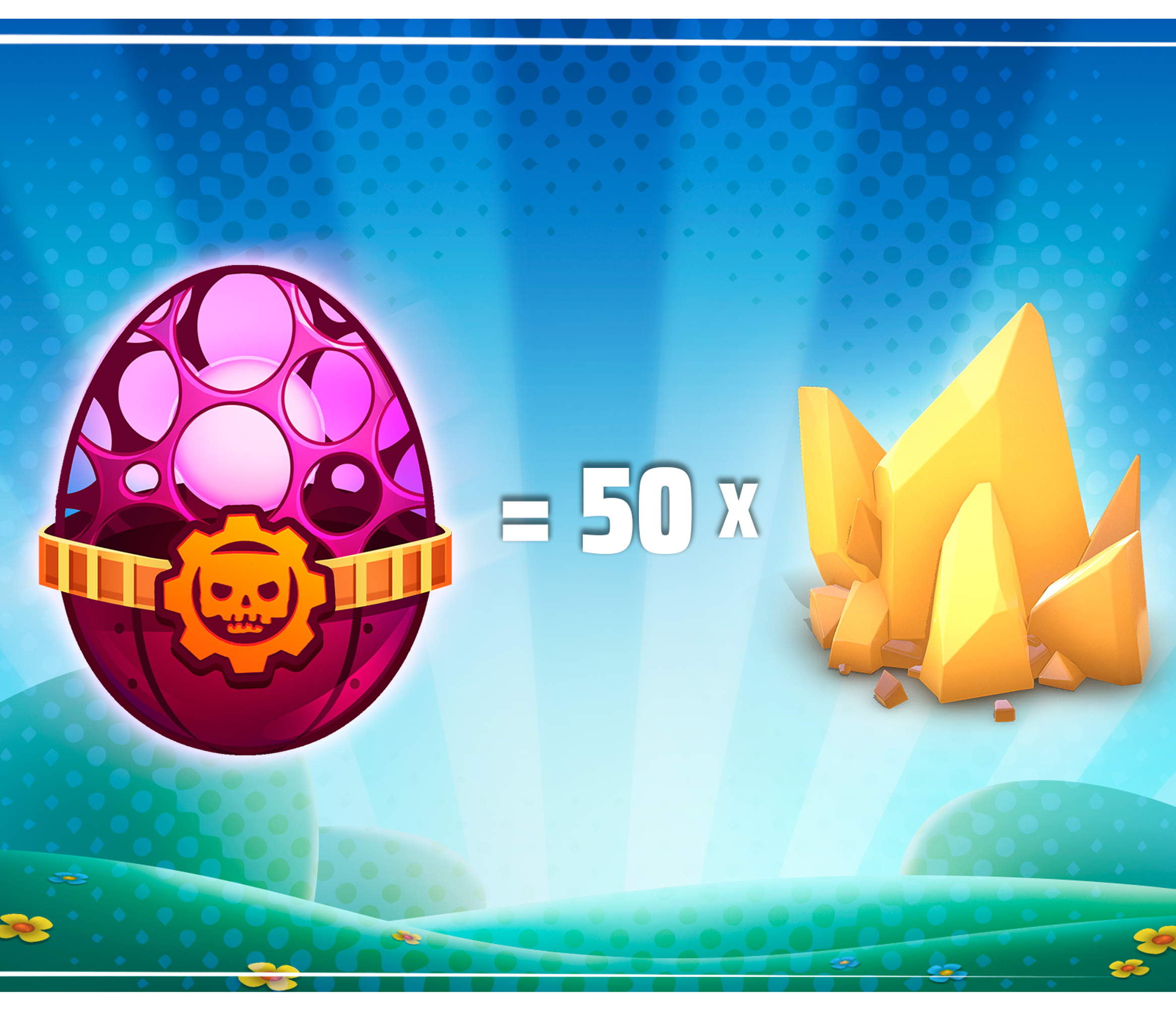 Legendary Easter Egg from Gears POP with 50 Crystals next to it