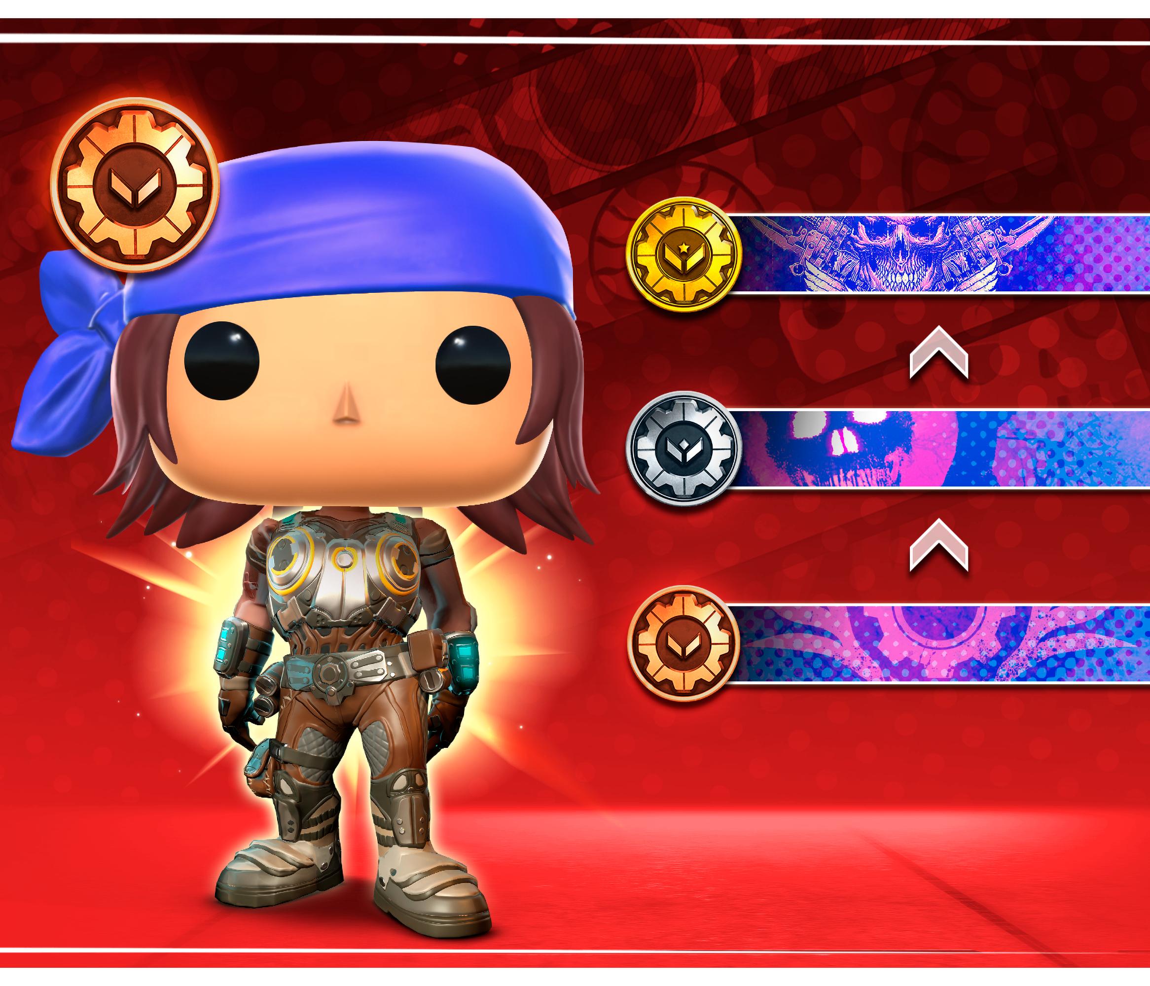 Gears POP! Avatar wearing Anya's armor and showcasing emblem rewards for Season 9