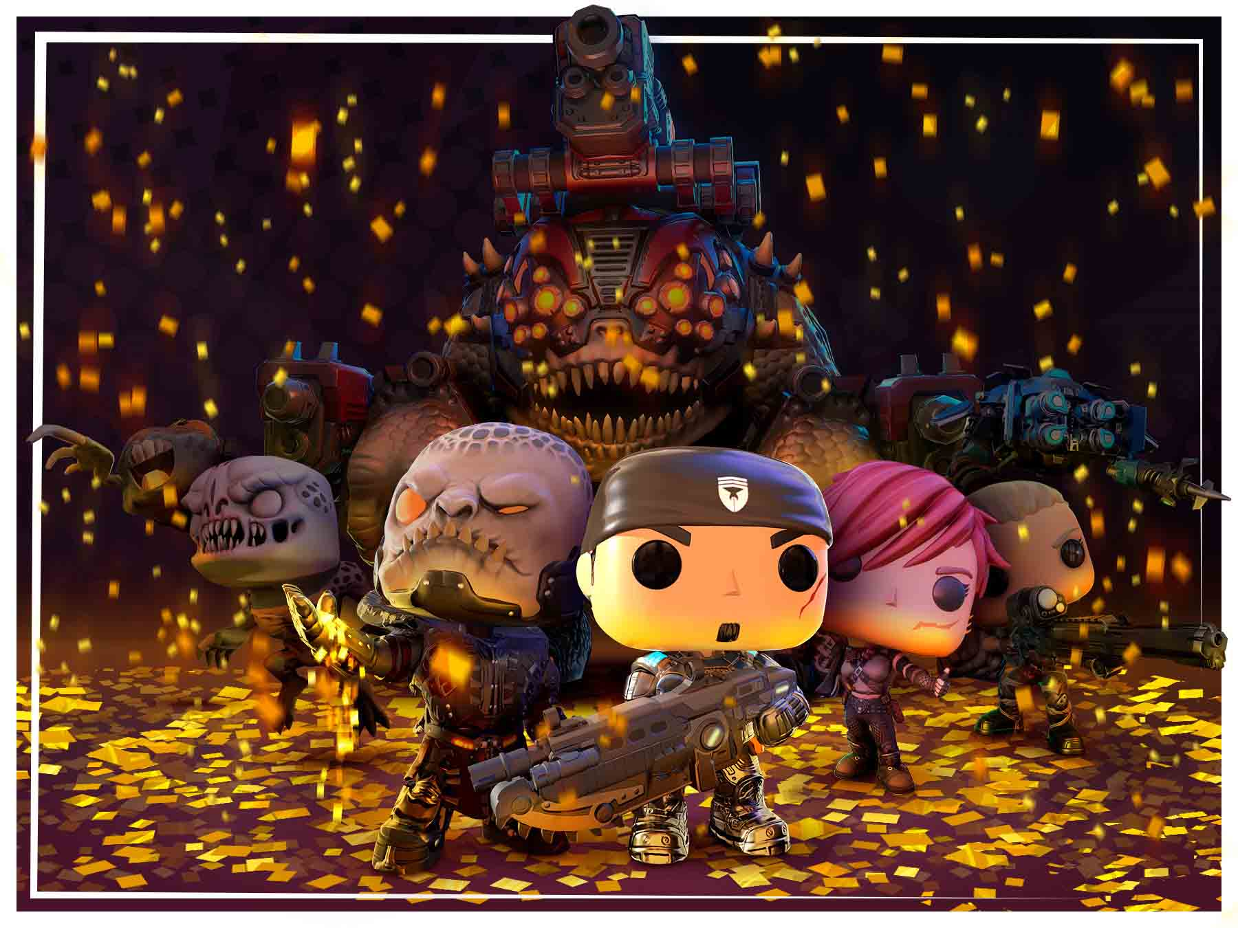 A variety of different Gears Pop! Characters with coins on the ground.